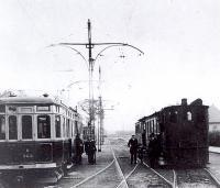 Nieuwe electrische naast stoomtram heemstede 1931