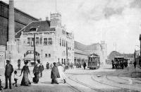 Haarlem station electirische en paarentram 1909