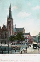 Lange brug met Tram en Kerk aan het Spaarne 1901