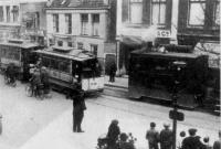 Hillegom Hoofdstraat wisselplaats met stoomtram naar leiden 1932