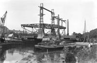 Transport v/d Langebrug over het Spaarne 1933