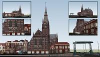 3D Spaarnekerk en langebrug.